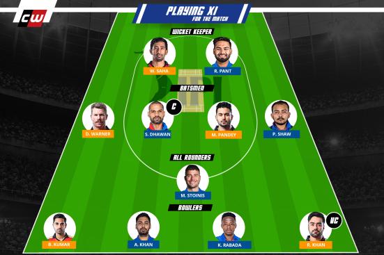DC vs SRH fantasy team IPL